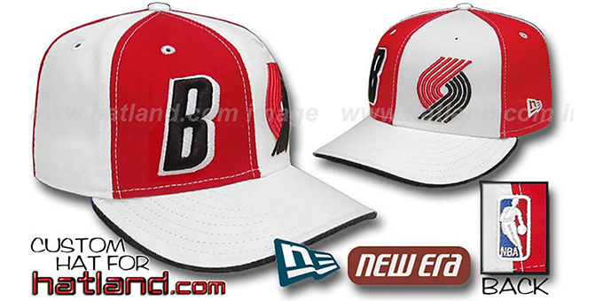 Trailblazers 'DOUBLE WHAMMY' Red-White Fitted Hat : pictured without stickers that these products are shipped with