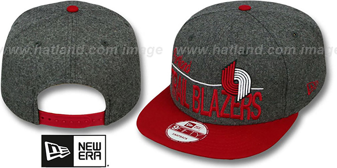 Trailblazers 'FLANNEL SNAPBACK' Grey-Red Hat by New Era : pictured without stickers that these products are shipped with