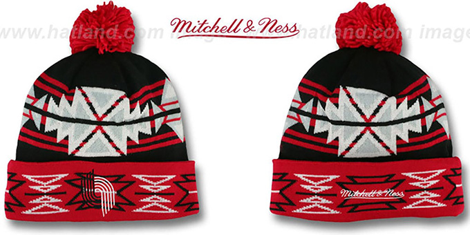 Trailblazers 'GEOTECH' Knit Beanie by Mitchell and Ness : pictured without stickers that these products are shipped with