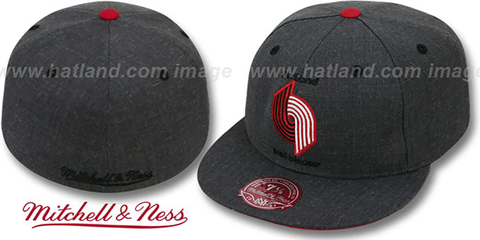 Trailblazers 'GREY HEDGEHOG' Fitted Hat by Mitchell and Ness : pictured without stickers that these products are shipped with