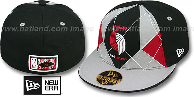 Trailblazers 'HARDWOOD BRADY' Black-Grey Fitted Hat by New Era : pictured without stickers that these products are shipped with