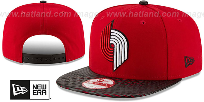 Trailblazers 'HWC LEATHER-RIP SNAPBACK' Red-Black Hat by New Era : pictured without stickers that these products are shipped with