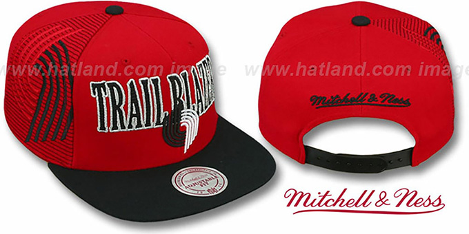 Trailblazers 'LASER-STITCH SNAPBACK' Red-Black Hat by Mitchell & Ness : pictured without stickers that these products are shipped with