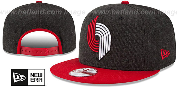 Trailblazers 'LOGO GRAND SNAPBACK' Charcoal-Red Hat by New Era : pictured without stickers that these products are shipped with