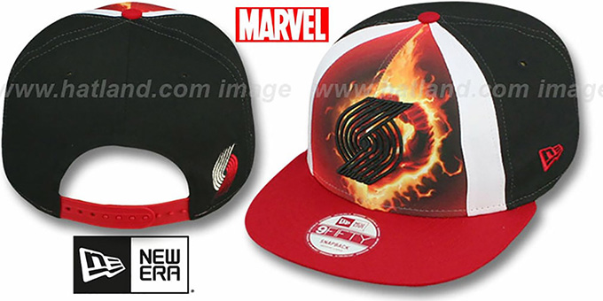 Trailblazers 'MARVEL RETRO-SLICE SNAPBACK' Black-Red Hat by New Era : pictured without stickers that these products are shipped with