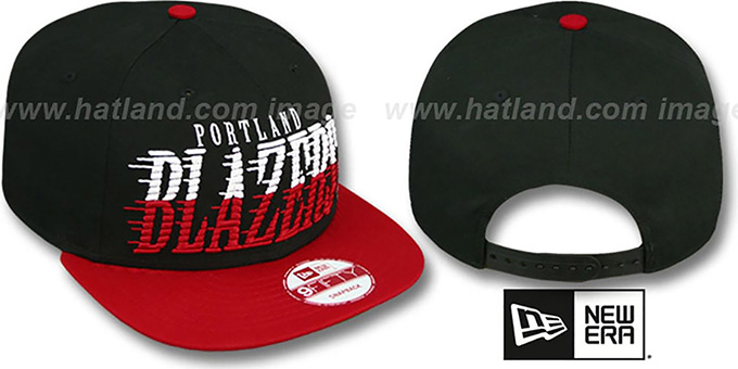 Trailblazers 'SAILTIP SNAPBACK' Black-Red Hat by New Era : pictured without stickers that these products are shipped with