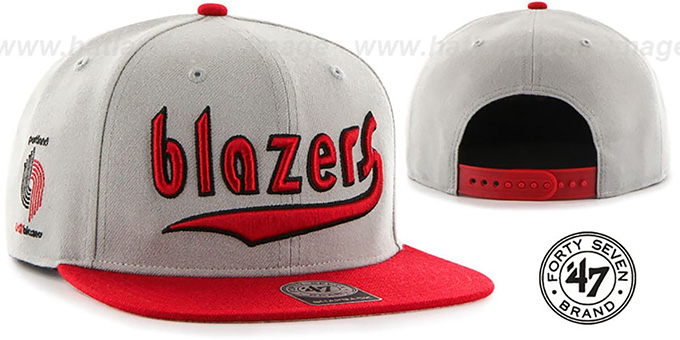 Trailblazers 'SCRIPT-SIDE SNAPBACK' Grey-Red Hat by Twins 47 Brand : pictured without stickers that these products are shipped with