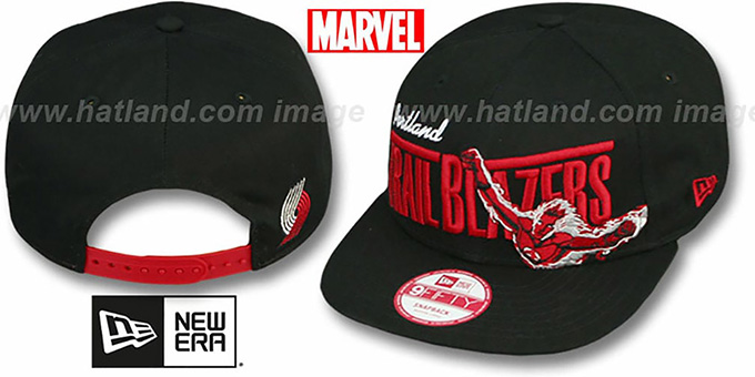 Trailblazers 'TEAM-HERO SNAPBACK' Black Hat by New Era : pictured without stickers that these products are shipped with