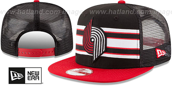 Trailblazers 'THROWBACK-STRIPE SNAPBACK' Black-Red Hat by New Era : pictured without stickers that these products are shipped with