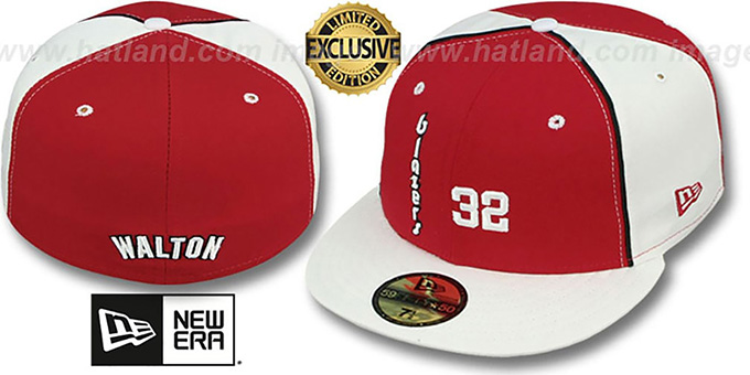 Trailblazers WALTON 'TEAM-UP' Red-White Fitted Hat by New Era : pictured without stickers that these products are shipped with