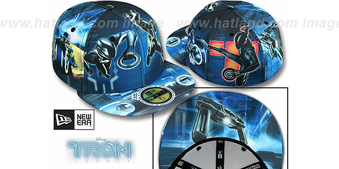 Tron 'HI-RES ALL OVER' Multi Fitted Hat by New Era : pictured without stickers that these products are shipped with