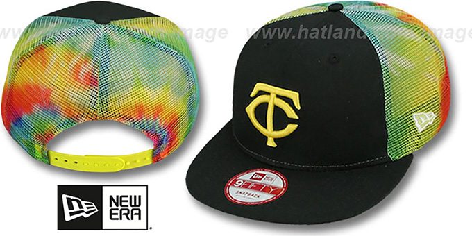 Twins  'MESH TYE-DYE SNAPBACK' Hat by New Era : pictured without stickers that these products are shipped with
