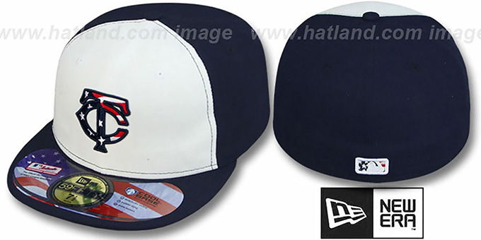 Twins '2011 STARS N STRIPES' White-Navy Hat by New Era : pictured without stickers that these products are shipped with