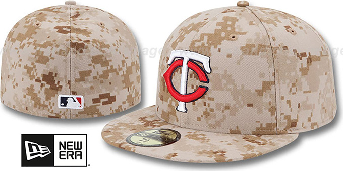 Twins 2013 'STARS N STRIPES' Desert Camo Hat by New Era : pictured without stickers that these products are shipped with