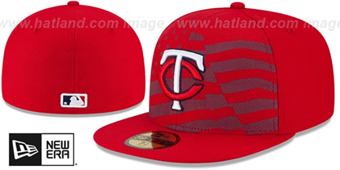 Twins '2015 JULY 4TH STARS N STRIPES' Hat by New Era : pictured without stickers that these products are shipped with