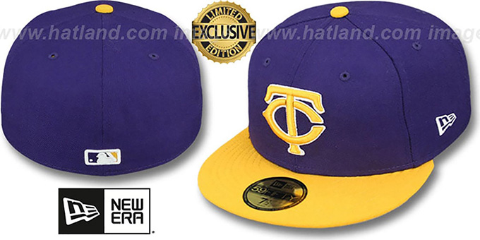 Twins '2T OPPOSITE-TEAM' Purple-Gold Fitted Hat by New Era : pictured without stickers that these products are shipped with