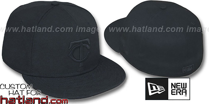 Twins 'BLACKOUT' Fitted Hat by New Era : pictured without stickers that these products are shipped with
