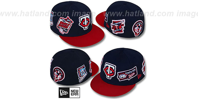 Twins 'DEEZ PATCHES' Navy-Red Fitted Hat by New Era : pictured without stickers that these products are shipped with