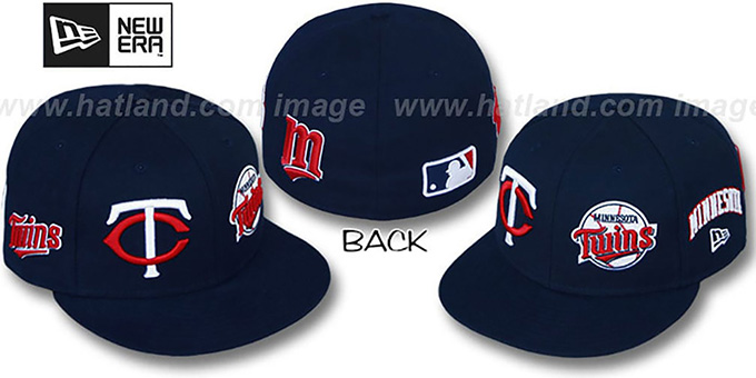 Twins 'EVOLUTION' Fitted Hat by New Era - navy : pictured without stickers that these products are shipped with