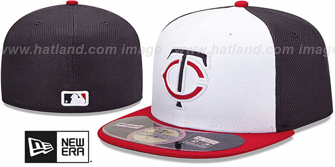 Twins 'MLB DIAMOND ERA' 59FIFTY White-Navy-Red BP Hat by New Era : pictured without stickers that these products are shipped with