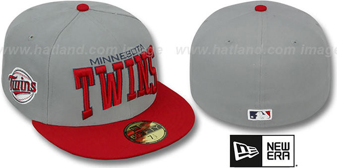 Twins 'PRO-ARCH' Grey-Red Fitted Hat by New Era : pictured without stickers that these products are shipped with