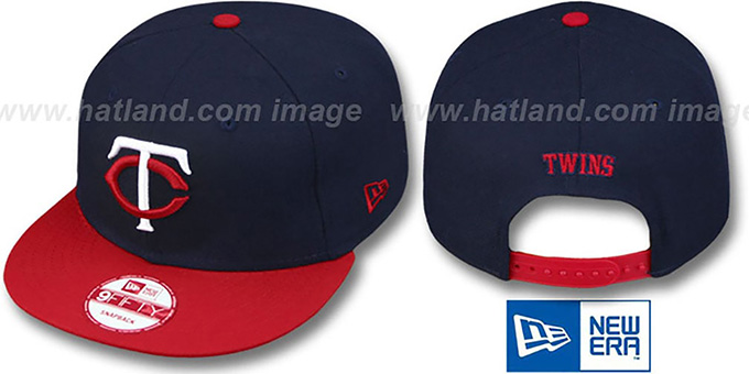 Twins 'REPLICA ROAD SNAPBACK' Hat by New Era : pictured without stickers that these products are shipped with