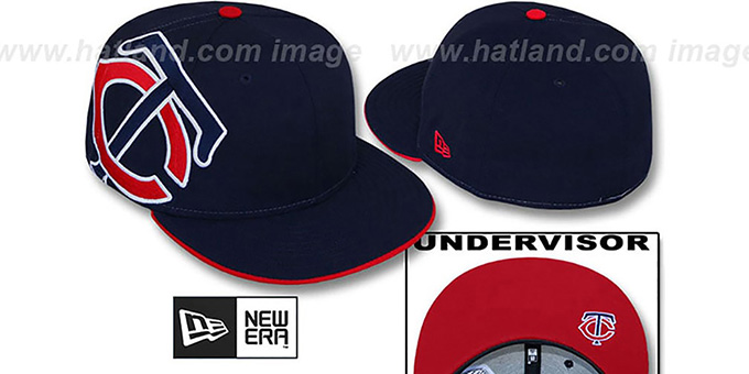 Twins 'SIDEWINGER' Navy Fitted Hat by New Era : pictured without stickers that these products are shipped with