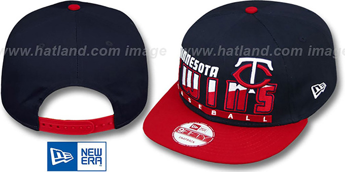 Twins 'SLICE-N-DICE SNAPBACK' Navy-Red Hat by New Era : pictured without stickers that these products are shipped with