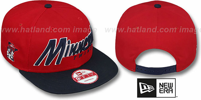 Twins 'SNAP-IT-BACK SNAPBACK' Red-Navy Hat by New Era : pictured without stickers that these products are shipped with