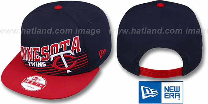 Twins 'STILL ANGLIN SNAPBACK' Navy-Red Hat by New Era : pictured without stickers that these products are shipped with