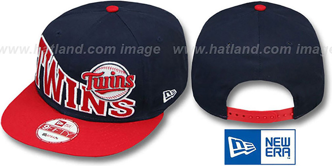 Twins 'STOKED SNAPBACK' Navy-Red Hat by New Era : pictured without stickers that these products are shipped with