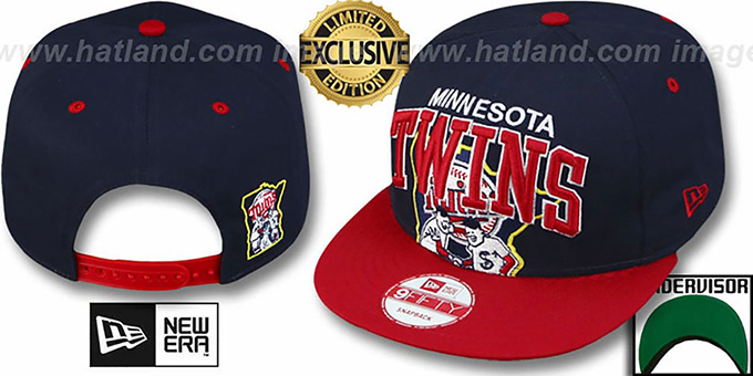 Twins 'SUPER-LOGO ARCH SNAPBACK' Navy-Red Hat by New Era : pictured without stickers that these products are shipped with