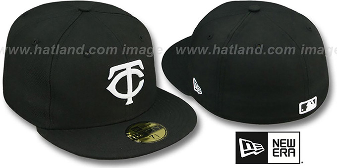 Twins 'TEAM-BASIC' Black-White Fitted Hat by New Era : pictured without stickers that these products are shipped with
