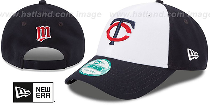 Twins 'THE-LEAGUE STRAPBACK' White-Navy Hat by New Era : pictured without stickers that these products are shipped with