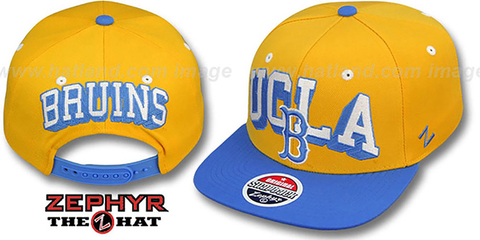 UCLA '2T BLOCKBUSTER SNAPBACK' Gold-Sky Hat by Zephyr : pictured without stickers that these products are shipped with
