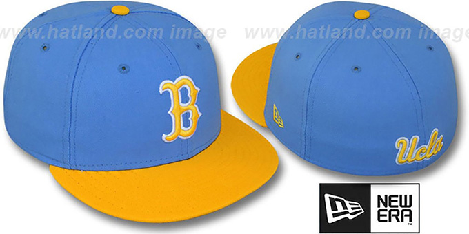 UCLA '2T NCAA-BASIC' Sky-Gold Fitted Hat by New Era : pictured without stickers that these products are shipped with