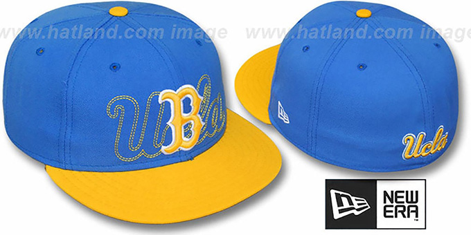 UCLA '2T SHADOW NCAA-BASIC' Sky-Gold Fitted Hat by New Era : pictured without stickers that these products are shipped with