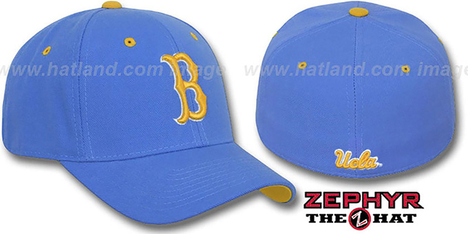 UCLA 'DH' Fitted Hat by Zephyr - columbia : pictured without stickers that these products are shipped with