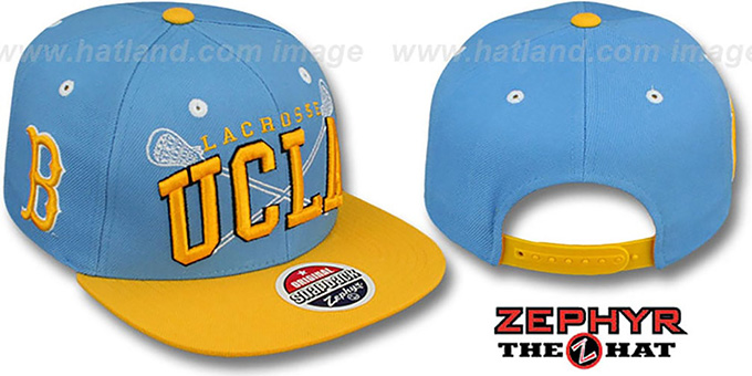 UCLA 'LACROSSE SUPER-ARCH SNAPBACK' Sky-Gold Hat by Zephyr : pictured without stickers that these products are shipped with