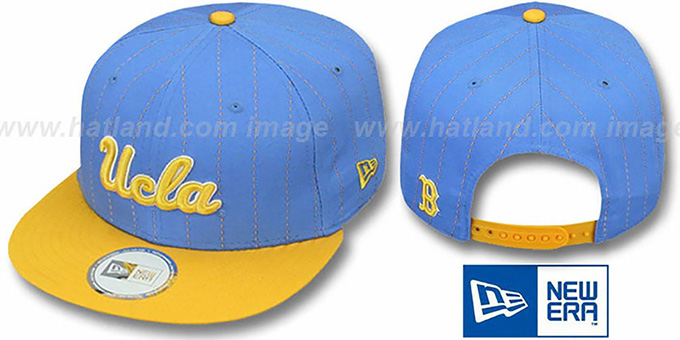 UCLA 'TEAM-BASIC PINSTRIPE SNAPBACK' Sky-Gold Hat by New Era : pictured without stickers that these products are shipped with