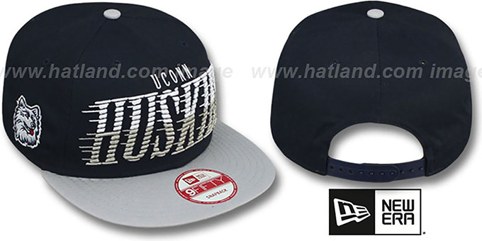 UCONN 'SAILTIP SNAPBACK' Navy-Grey Hat by New Era : pictured without stickers that these products are shipped with