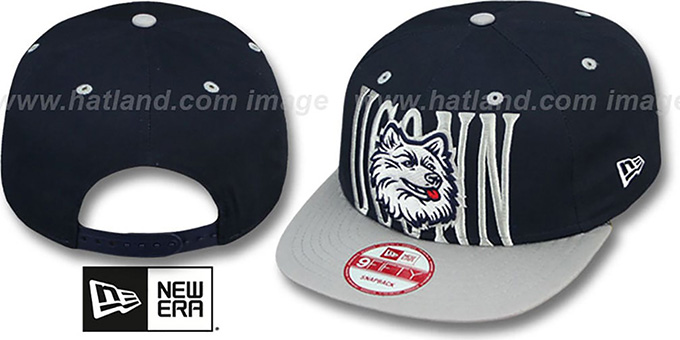UCONN 'STEP-ABOVE SNAPBACK' Navy-Grey Hat by New Era : pictured without stickers that these products are shipped with