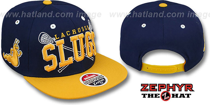UCSC 'LACROSSE SUPER-ARCH SNAPBACK' Navy-Yellow Hat by Zephyr