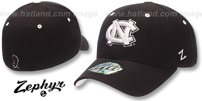 UNC 'DH' Fitted Hat by Zephyr - black : pictured without stickers that these products are shipped with