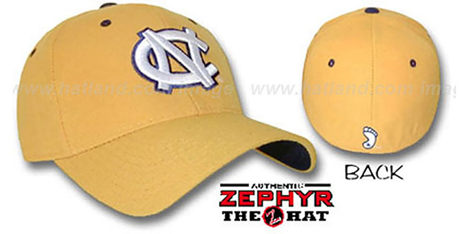 UNC 'DH' Fitted Hat by ZEPHYR - gold : pictured without stickers that these products are shipped with