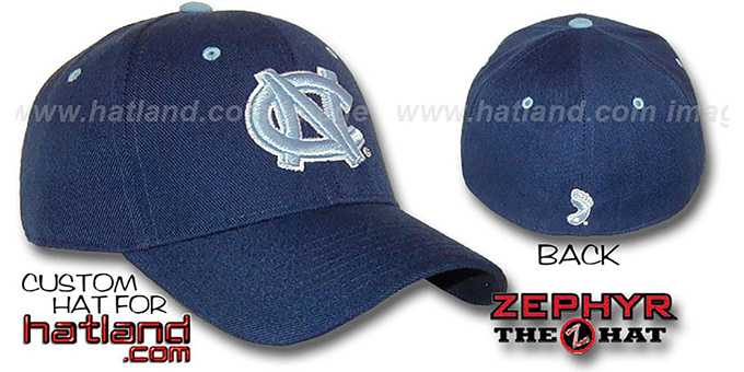 UNC 'DH' Navy-Columbia Fitted Hat by ZEPHYR : pictured without stickers that these products are shipped with