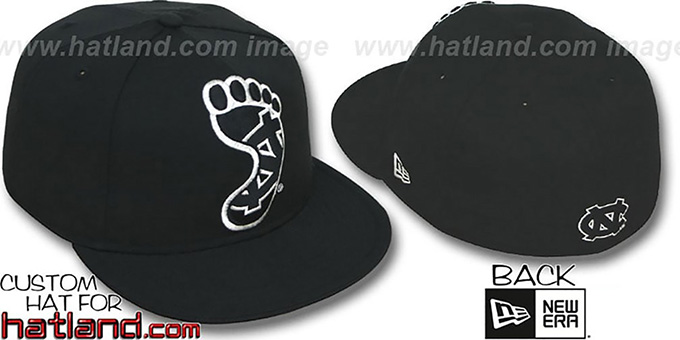UNC 'INSIDER BIG-ONE' Black-Silver Fitted Hat by New Era : pictured without stickers that these products are shipped with
