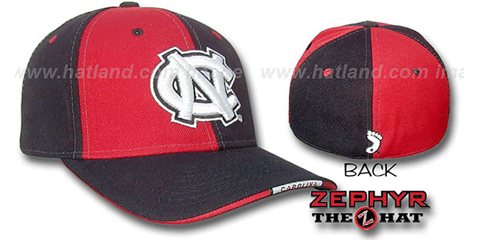 UNC 'TWIST' Red-Black Fitted Hat by Zephyr : pictured without stickers that these products are shipped with