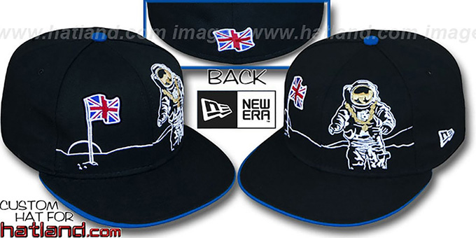 United Kingdom 'MOONMAN' Black Fitted Hat by New Era : pictured without stickers that these products are shipped with