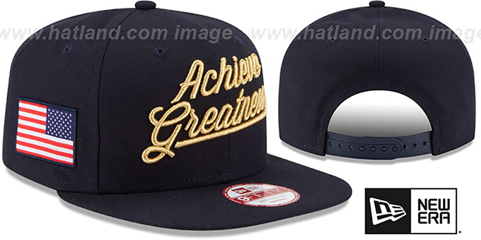 United States 'ACHIEVE GREATNESS SNAPBACK' Navy Hat by New Era : pictured without stickers that these products are shipped with